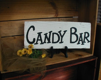 Black and White Candy Bar Wedding Reception Sign Ready to Ship