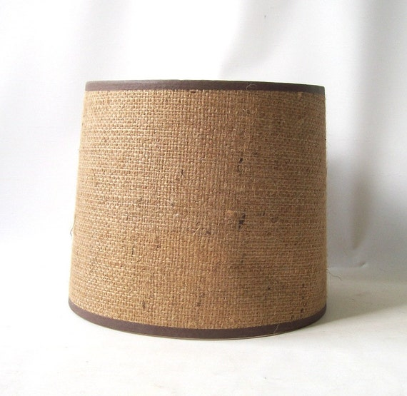American Mid Century Modern Atomic Age Small Patio Round: Vintage 1950's Burlap Drum Lamp Shade Textured Neutral