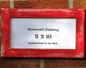 5X10 Picture Frame Distressed Red White Wedding Photo Frame Shabby Chic Wooden Frame