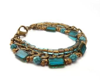 Blue Picasso Glass Bracelet - Aqua, Teal Beaded Triple Stacking Bracelet - Bronze Chain - Bohemian Bracelet Boho