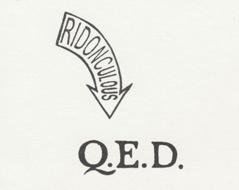 RIDONCULOUS and Q.E.D. set of TWO Clear Polymer Stamps made from hand-carved stamps