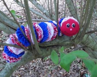 Red White Blue Yo Yo Caterpillar Baby Toy, Fabric YoYo Baby Childrens Toy, Caterpillar,  Baby Gift  Shower Gift