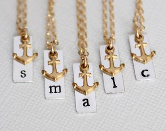 Anchor Bridesmaid Gifts, Personalized Anchor Necklaces, Silver Initial Bar, Gold Nautical Wedding Gift