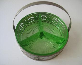 Green Depression Glass Divided Dish with Metal Holder Estate Find