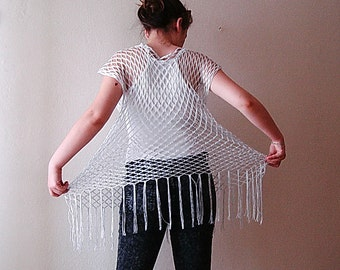 Silver bright fishnet tunic, Summer beach cover up, oversize lightweight  airy dress