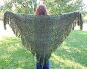 Green Shawl, Large Handwoven Triangle Shawl Wrap, Hand Woven Shawl, Celtic Shawl, Green and Brown Shawl