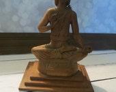 vintage carved wood  bali peace buddha sculpture