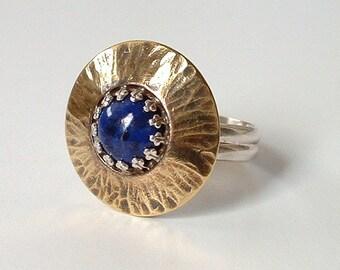 Ring Lapis Lazuli Sterling Silver Brass  Mixed Metal Cocktail Ring Cobalt Blue