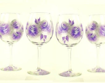 Set of 4 Hand-Painted Glasses, Choice of Stemware - Deep Purple and Silver Roses - Amethyst Lavender Wine Goblets Painted Stemware