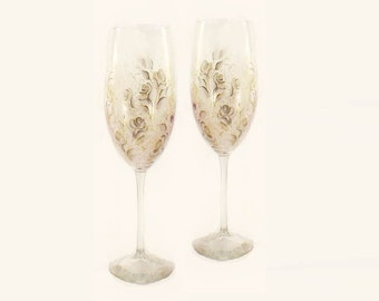 Hand Painted Wedding Anniversary Toasting Flutes - Ivory Roses with Gold, Silver Accents Set of 2 - 25th 50th Anniversary Gift Glasses