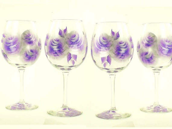 Hand-Painted Wine Glasses - Elegant Purple and Silver Roses, Set of 4 - Amethyst Orchid Lavender Housewarming Wine Goblet Painted Stemeware