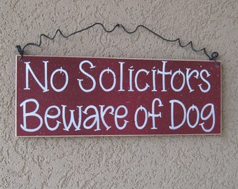 Free Shipping - No Soliciting, Beware of Dog sign (barn red) for home and office sign