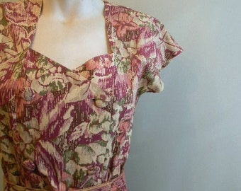 vintage. 40s Inspired Floral  Dress //  Cotton Dress // S to M