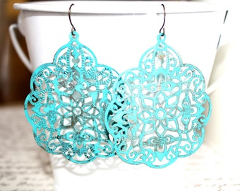 Turquoise Filigree Earrings, Handpainted Earrings, Bronze Filigree Earrings,Earrings Boho Earrings Rustic Jewelry Dangle Earrings
