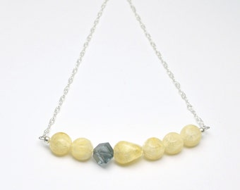 Yellow and Gray Necklace Vintage Acrylic Bead Necklace and Earrings