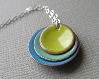 Bitter Green Mint Blue Modern Minimalist Enamel Necklace Sterling Silver