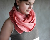 Felted cowl scarf red circle merino wool neck warmer vintage rose women scarf pink cotton chunky scarf infinity  winter scarf summer scarf