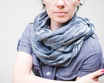 Grey scarf felted cowl chunky scarf women neck warmer merino wool hood winter scarf cotton scarf infinity cowl loop scarf Christmas gift