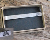 Bicycle Bike Stamped Necktie Clip Tie Tab Stamped Double Sided Aluminum Lacrosse Baseball Softball Football