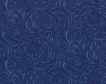 TOOLED LEATHER cotton Moda fabric 1/2 yd dark blue quilting sewing maker King of the Ranch America western cowboys denim half yard 11216-12