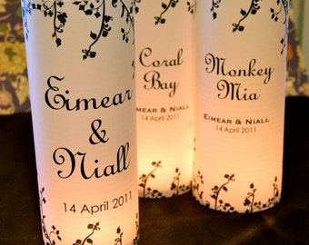 "20, 22, 24, 26, 28, or 30 ""Floral vine"" Table number Luminaries for centerpieces, table numbers at wedding, events, balls"