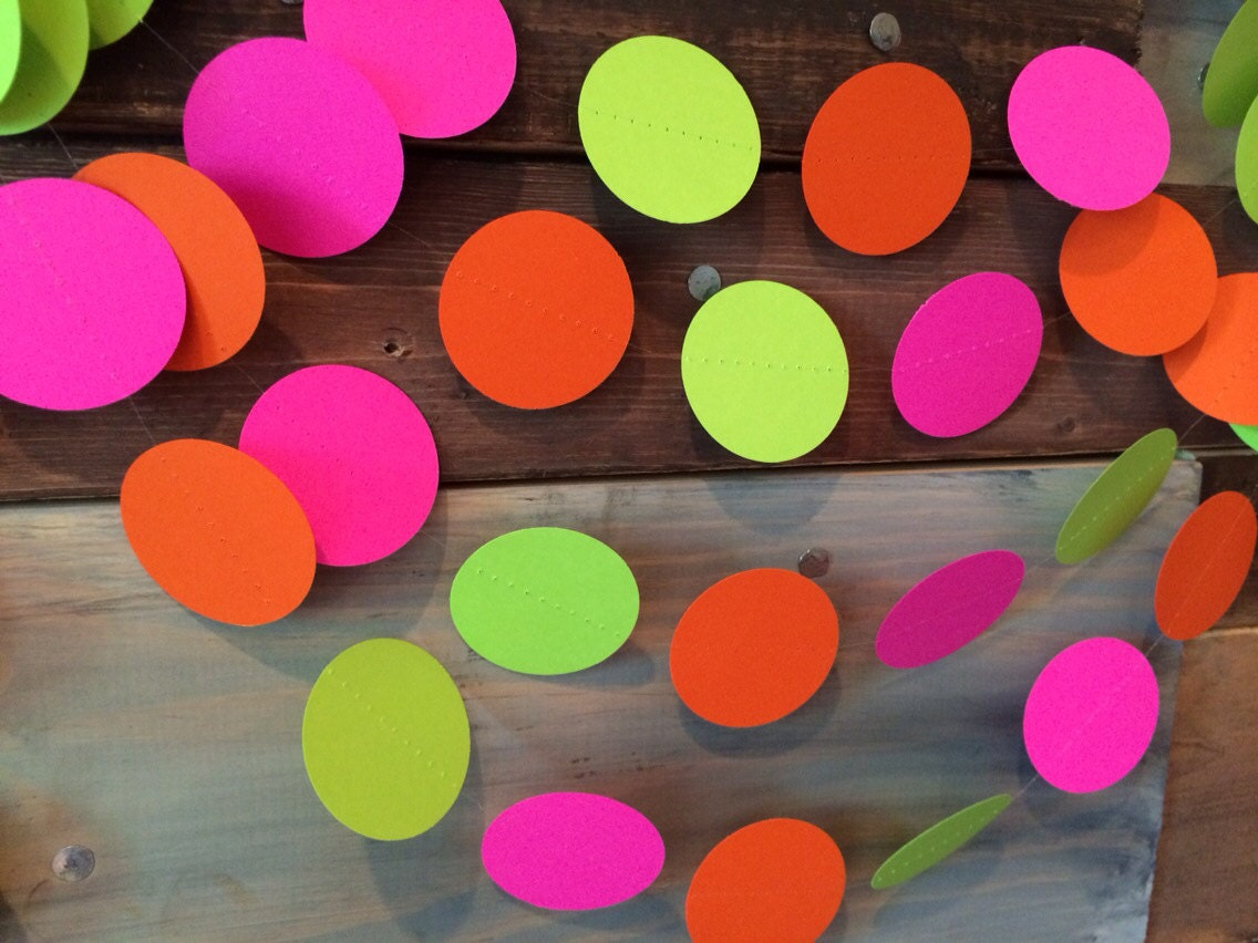 Hot Pink Lime Green And Bright Orange Neon Paper Garland