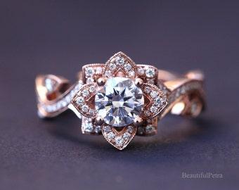 BLOOMING Work Of Art - Flower Rose  Lotus Diamond Engagement or Right Hand Ring - 14K rose gold - fl07 - Beautiful Petra Patented design