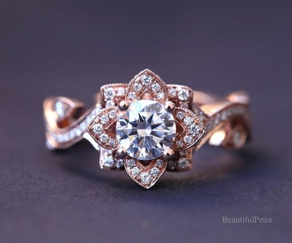 Lotus Engagement Ring Etsy