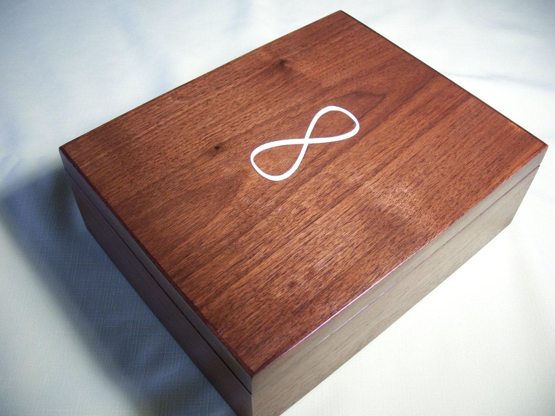 Wooden Jewelry Box Walnut Infinity Design Inlay