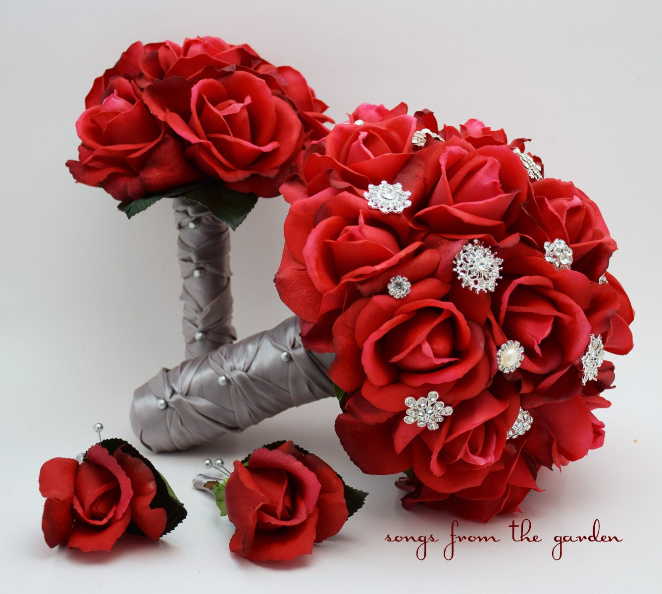 Red Roses & Rhinestones Bridal Bouquet Real Touch Bridal