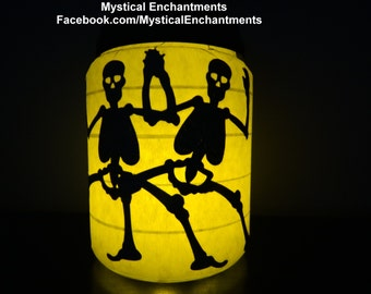 Dancing Skeletons & Spiderweb Halloween Lantern Candle Holder- 2 in 1