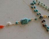 Multi colored turquoise chrysophase moonstone long Buddha Necklace Bohemian