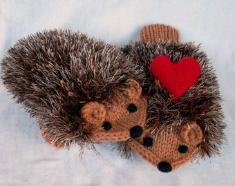 Knitting Pattern Hedgehog Mittens : Made to order Hand Knit Cream White Hedgehog Mittens Gloves