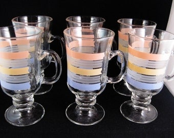Libbey Footed Irish Mugs(6)Striped Retro