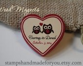 Owl Rustic Wedding Favor Wood Magnets or save the date or rustic wedding favor red color