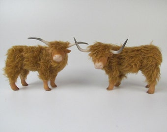 Porcelain and Mohair Highlnd Cattle Figure
