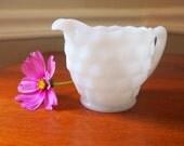 Vintage white milk glass cubist creamer 1930s country cottage housewares