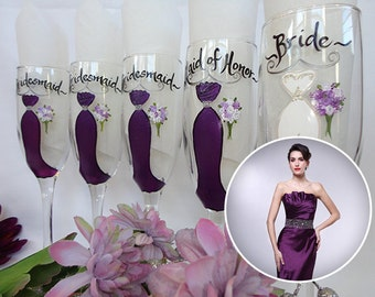 """Hand Painted PERSONALIZED Wedding Wine Glasses - """"To MATCH What Your Bridal Party is Wearing"""" - Bridesmaid Champagne Glasses"""