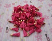 20pcs hot pink colors Silk/Satin Leather Tassels charms pendant, Ideal Accessories for DIY projects, Suede leather tassel