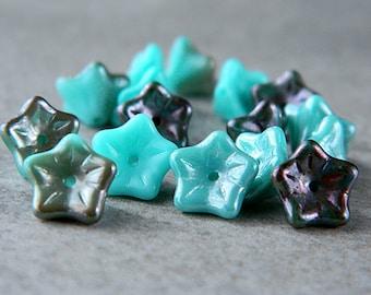 Silky Blue flower bead mix, Czech glass 5-petal trumpet flower beads, 8X5mm, Silky Blue Mix (20pcs) NEW