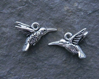 Pewter Humming Bird Charm, Metal Bird Charm, Antique Silver Plated Pewter, USA made  (2pcs) NEW
