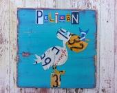 Blue Red Aqua PELICAN - Beach Nautical Sailing -  Nursery Bathroom Playroom - Recycled License Plate Art - Sea Life Fish - Upcycled Artwork