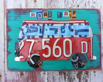 License Plate Art - VW Bus Volkswagen - Road Trip Adventure Summer Fun Recycled Art Company Boys Room Nursery - Upcycled Artwork Baby Shower