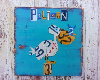 Blue Red Aqua PELICAN - Beach Nautical Sailing -  Nursery Bathroom Playroom - Recycled License Plate Art - Sea Life Fish - Upcycled Artwork
