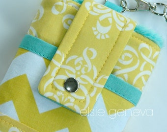 Made to Order  Yellow Damask Chevron and Aqua Phone Case with Wristlet iPhone Samsung Galaxy Android
