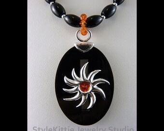 Sun Pendant, Necklace, Dangle Earrings, 925 Sterling Silver, Black Agate, Black Horn, Swarovski Crystals, Gemstone, Sun Beads, Set, Jewelry