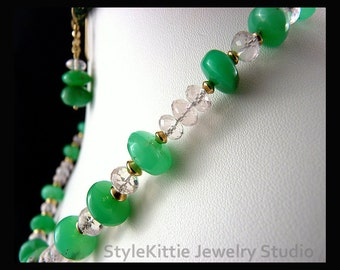 Australian Chrysoprase, Faceted Pink Morganite, Necklace, Dangle Earrings, Graduated, Gemstone, Pink and Green, 14k Gold Fill, Two Piece Set