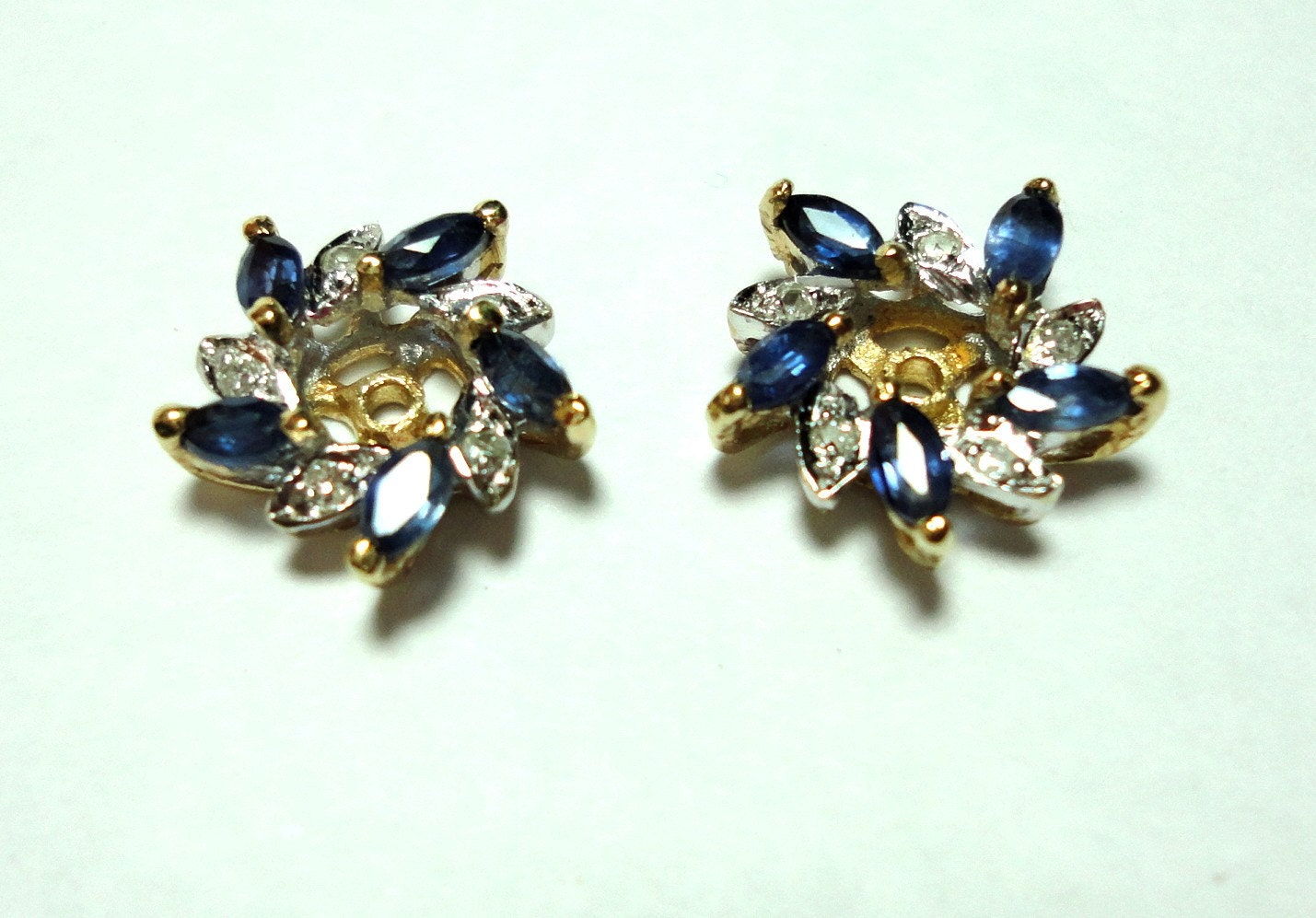 Vintage Genuine Blue Sapphire And Diamond Earring Jackets In