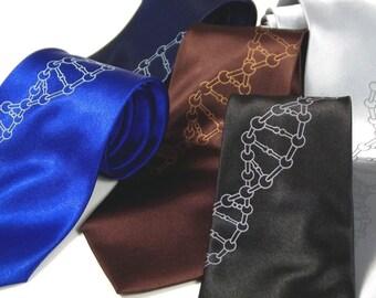 DNA Helix Tie - Mens Necktie - Silkscreened Microfiber Tie - Gift Wrapped
