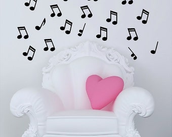 20 Music Notes Wall Decals Removable Wall Musical Stickers